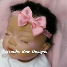 Pink Dainty Hair Bow with Lace Headband FITS Preemie Newborn Baby Toddler Easter