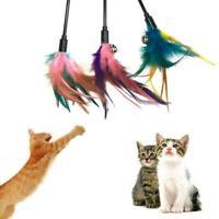 1PC Fun Kitten Toy Cat Feather Bell Wand Teaser Rod Toy New Play Ball Pet B H7Q6