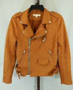 Hot & Delicious Womens Ladies Rust Long Sleeve Zippered Biker Jacket Size Small
