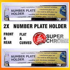 2 X NEW SUPER CHROME NUMBER PLATE TWO SURROUNDS HOLDERS FRAMES PAIR FOR CAR