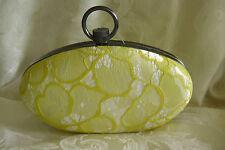 Prabal Gurung  Yellow Lace Hard Sided Clutch Handbag