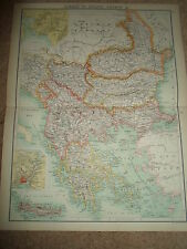 c1900 Map TURKEY IN EUROPE GREECE ETC. J Bartholomew XXth Century Citizens Atlas