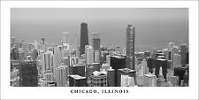 Poster Panorama Chicago Illinois Skyline Black and White Willis Tower Skydeck