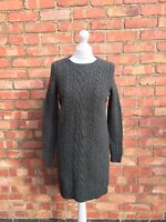 Cos Green Wool Fitted Long Sleeved Pullover Jumper Dress Size Xs B32