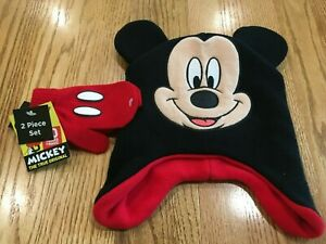NEW Disney Mickey Mouse 2 Piece Winter Hat and Gloves Mittens Set Red & Black