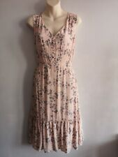 Laura Ashley Pink & Grey Floral Summer Tea Dress Size 10