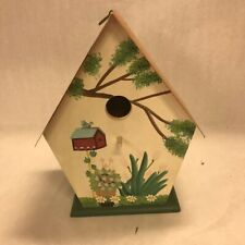 BIRDHOUSE  Vintage wood copper roof cottage 11 inch tall painted