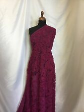 "NEW Beautiful Magenta Floral Ribbon Lace Fabric 60"" 154cm Dress Cloth Garment"