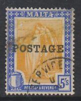 Malta - 1926, 5s Orange-Yellow & Ultramarine stamp Optd POSTAGE - F/U - SG 155