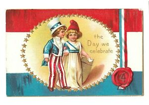 The Day We Celebrate Embossed Postcard, Posted 1921, Boy, Girl, Shield, Ribbon.