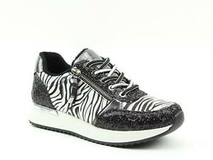Heavenly Feet  San Remo Trainers Black/Siver