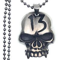 Gothic Lucky 13 Skull Gambler's Casino Charm Pewter Unisex Men Pendant Necklace