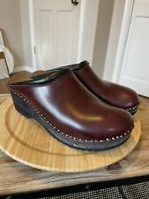 TROENTORP Leather Swedish Studded Clogs Burgundy/Oxblood Size EU 46