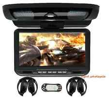 """9"""" 16:9 LCD Car Roof Mount Overhead Monitor DVD Player Games FM USB SD Headsets"""