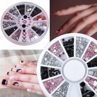 3D DIY 3 COLORS AB Crystal Rhinestone Nail Art Tips gems Decoration Wheel New