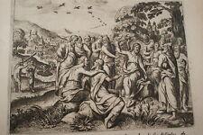 GRAVURE SUR CUIVRE JESUS SERMON MONTAGNE-BIBLE 1670 LEMAISTRE DE SACY (B195)