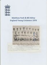 MATTHEW FOSH & BILL ATHEY ENGLAND CRICKETERS 1976 HAND SIGNED MAG TEAM GROUP