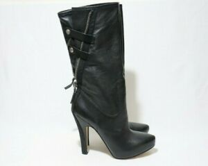 NINE WEST Size 8.5 Womens Black Leather Mid-Calf Platform Boots #LastPair