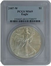 2007 W American Silver Eagle Dollar PCGS MS 69 burnishe