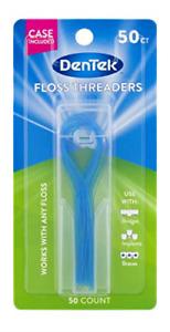 DenTek Floss Threaders   For Braces, Bridges, and Implants   50 Count Pack of 1
