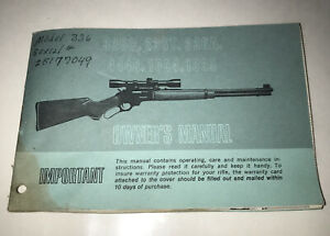 Marlin Model 336C 336T 444 1894 & 336C  1895 Owners Manual 1975 USA