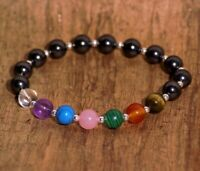 Shungite bracelet with 7 Chakra stones and 925 sterling silver, EMF Protection