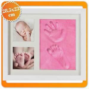 Baby Bilderrahmen Geschenk Set - Fotorahmen für Handabdruck Fußabdruck & Fotos
