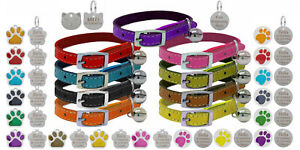 Genuine Leather Cat / Kitten Collar with Safety Elastic & Bell with Engraved Tag