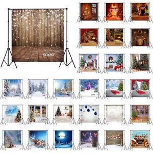 XMAS Tree Winter Snow Rustic Wood 10X10FT Vinyl Photo Background Studio Backdrop