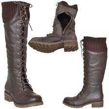 Women's Knee High Boots Knitted Calf Lace Up Closure Comfort Zipper Shoes Brown