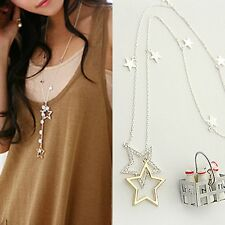 Women Cute Crystal Rhinestone Stars Pendant Long Chain Necklace Gift Jewelry Hot