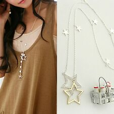 Womens Fashion Silver Gold Crystal Rhinestone Stars Pendant Long Chain Necklace