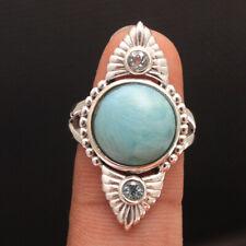 HANDMADE Sterling Silver Fine Jewelry Larimar Blue Topaz Gemstone Ring Size 6