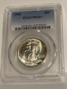 1943 Walking Liberty 50C Half Dollar Silver PCGS MS66+