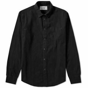 Folk Long Sleeve Stitch Pocket Shirt Black Twill Size XL - RRP £150.00