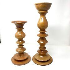 "POTTERY BARN Fruit Wood Turned Pillar Candle Holder Set Farmhouse Decor 11""& 15"""