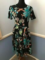 LULAROE AMELIA Pleated Dress with Pockets: Black with Beautiful Teal Flowers - L