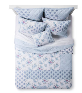 Simply Shabby Chic Blue Dascha Patchwork 2 PC TWIN QUILT  SET NEW