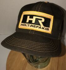 Vintage HOLT-REFAKIS 70s 80s USA K-Brand Yellow Gold Black Hat Cap Snapback RARE