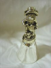 Brand New Silverplated Teddy Bear Figurine Shiny Metal Bell Watering Can Flowers