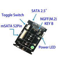 "Mini PCI-E B M-KEY M.2 NGFF & 2.5"" mSATA SSD to SATA III 3.0 Converter Adapter"
