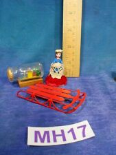 Vintage Dollhouse Doll House Lot: Tiny Doll, Sled, Ship in Bottle! MH17