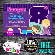 Personalised Girls Slumber / Sleepover Party Invitations x 5 with envelopes