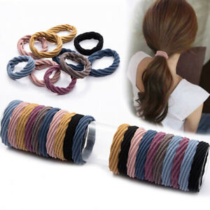10/20X New Elastic Rubber Simple Hairband Girls Solid Color Headband Women F Hb