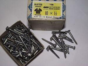 10 x 1½ - Qty 15  ROUND HEAD - CHROME PLATED  BRASS WOOD SCREWS -NETTLEFOLDS