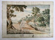 Aquarelle ancienne, Lavis, Ange et femme dans un paysage, XIXe ou avant