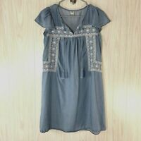 Old Navy Chambray Shift Dress Women's Size M Blue w White Embroidery