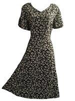 ELEGANT DRESS WOMEN's UK 16 MONOCHROME BLACK WHITE WEEKEND TEADRESS FLORAL DITSY