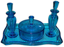 New Martinsville Peacock Blue Vanity / Perfume Set /2 Perfumes / Puff Box & Tray