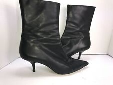 cole hann womens boots 10 B Black Leather pointed Toe Small Heel stitched